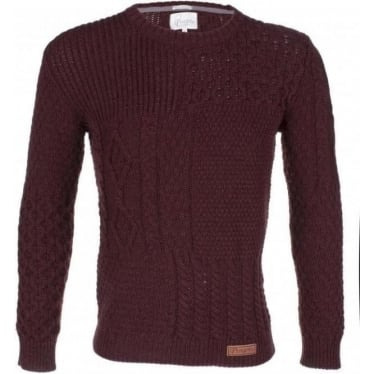 Mens Patchwork Aran Jumper in Shiraz