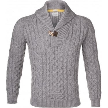 Mens Aran Shawl Toggle Jumper in Light Grey