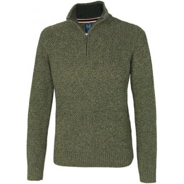 Mens Country Half Zip Jumper in Pine Needle