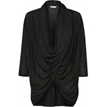 Womens Caitlin Jersey Wrap Around Top in Black