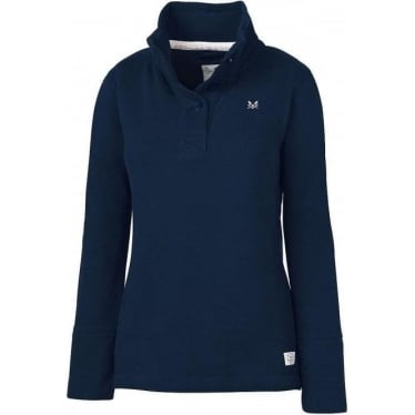 Womens Half Button Sweat Jumper in Navy