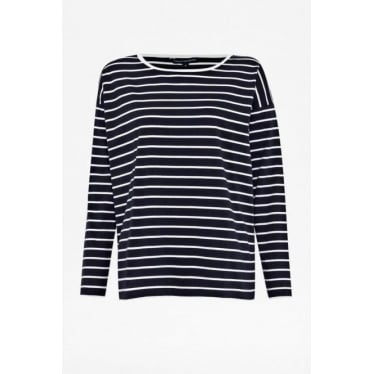 Womens Tim Tim Stripe Top in Navy