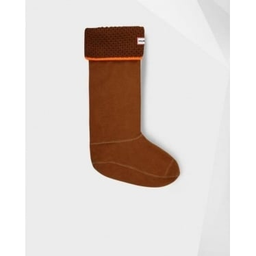 Neon Welly Socks in Light Ochre and Neon Orange