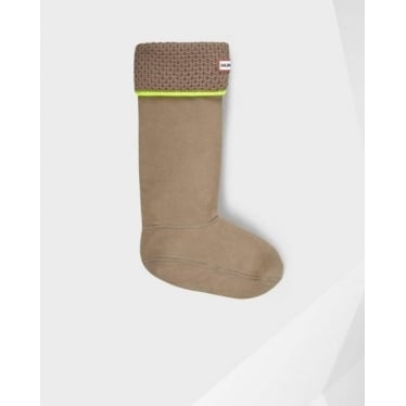 Neon Welly Socks in Putty and Neon Yellow