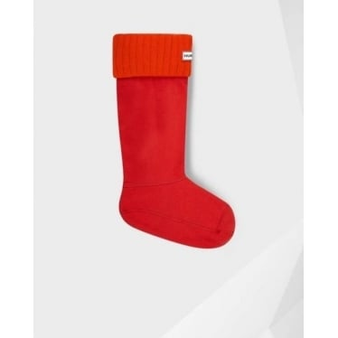 Chunky Rib Welly Socks in Coral