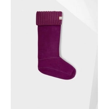 Chunky Rib Welly Socks in Plum