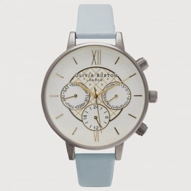Womens Watch Chrono Detail in Powder Blue and Silver