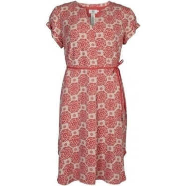 Womens Short Sleeve Dress Tea in Rose