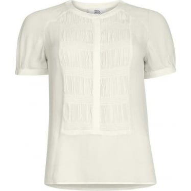 Womens Short Sleeve Blouse in Antique White