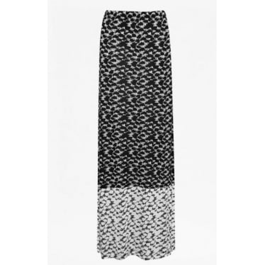 Womens Dizzy Dalmatian Maxi Skirt in Black & Seasalt