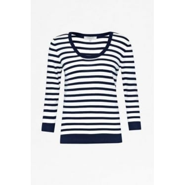 Womens Summer Stripes Tee in Admiral Blue