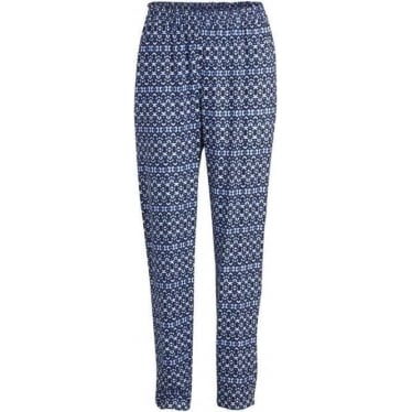 Womens Long Printed Trousers in Majorelle Blue