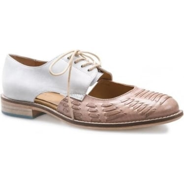 Womens Harrow Leather Lace Up Shoe in Taupe / Ivory