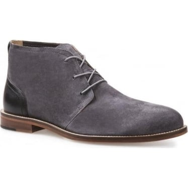 Mens Monarch Leather Chukka Boots in Grey Suede