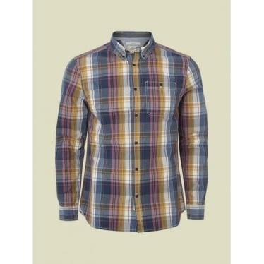 Mens Flight Check Shirt in Navy