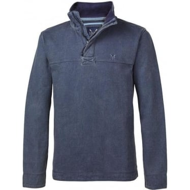 Mens Padstow Pique Sweat Jumper in Navy