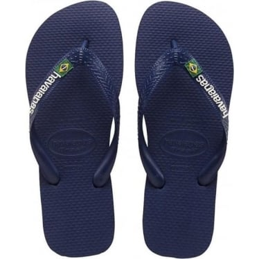 Kids Brasil Logo Flip Flops in Navy Blue