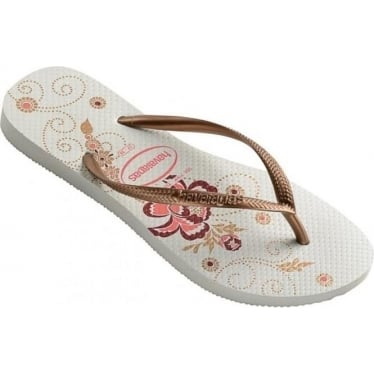 Womens Slim Organic Flip Flops in White