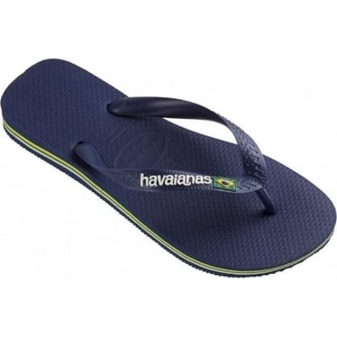 Mens Brasil Logo Flip Flops in Navy Blue