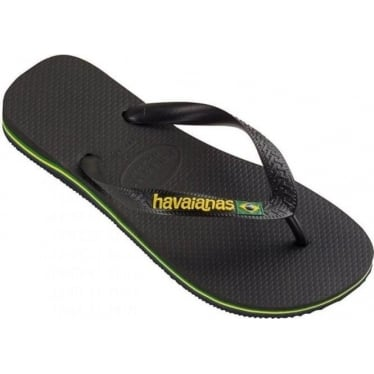 Mens Brasil Logo Flip Flops in Black