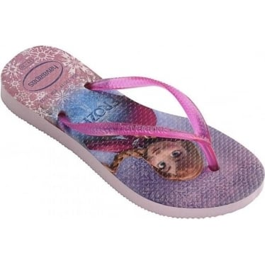 Kids Frozen Slim Flip Flops in Rose