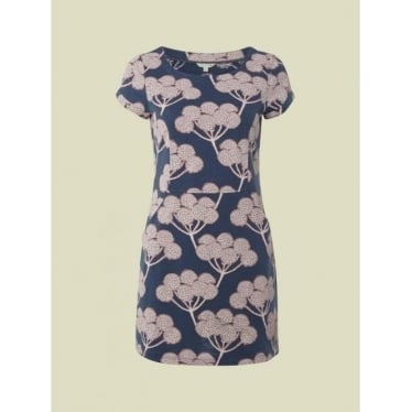 Womens Stamp Print Tunic in Thunder Blue