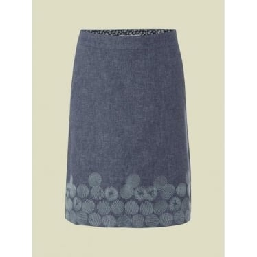 Womens Print Makers Embroidery Skirt in Dark Thunder