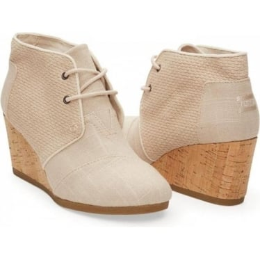Womens Textured Desert Wedge in Whisper Burlap