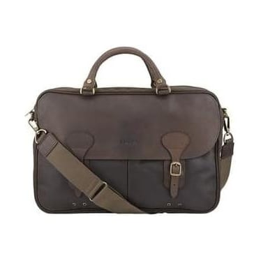 Mens Waxed Leather Briefcase in Olive