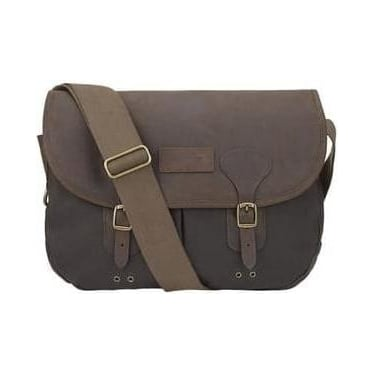 Mens Waxed Leather Tarras Bag in Olive