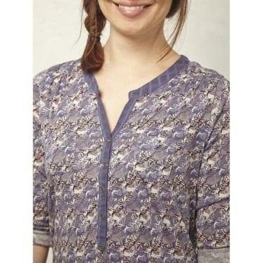 Womens Half Penny Jersey Shirt In Midnight Mauve