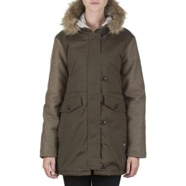 Womens Parka Jacket In Khaki
