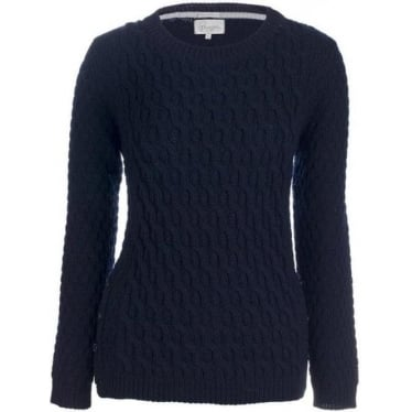 Womens Button Side Jumper In Navy