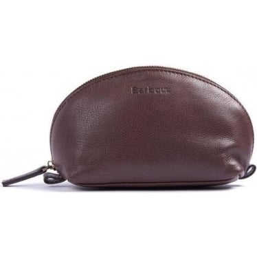 Womens Leather Make Up Bag In Dark Brown