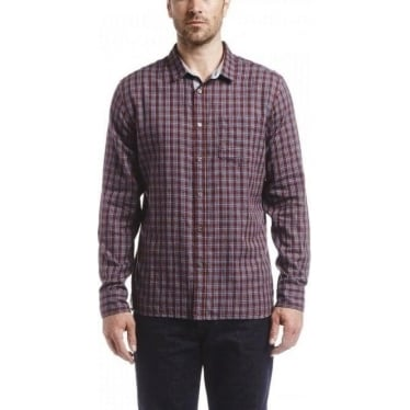 Mens Softon Shirt In Grenat Check