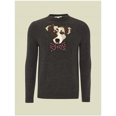 Mens Jack Dog Intarsia Jumper in Charcoal