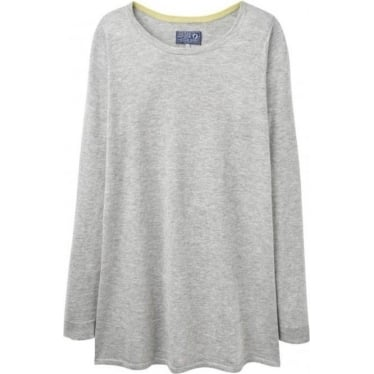 Womens Liza Knitted Tunic in Soft Grey Marl