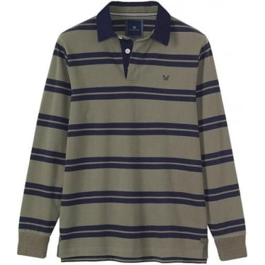 Mens Ashen Long Sleeve Rugby in Soft Khaki