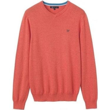 Mens Foxley V-Neck in Deep Coral
