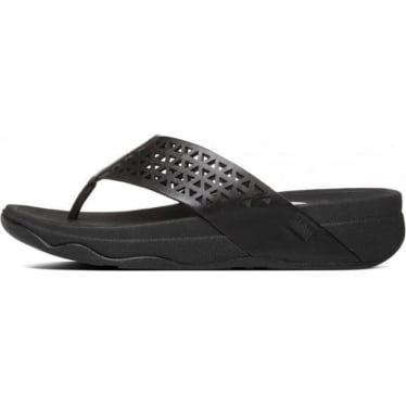 Womens Leather Lattice Surfa™ Sandal in All Black