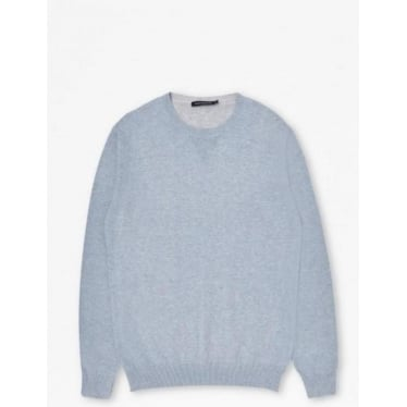 Mens Julep Printed Crew Neck Jumper in Cashmere Blue Printed Mel