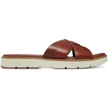 Womens A14re Bailey Park Cross Strap Slide Sandal in Medium Brown