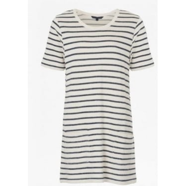 Normandy Stripe Short Sleeve T-Shirt Dress in Brule/Indigo
