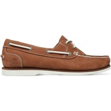 Womens Boat Shoe in Mid Brown