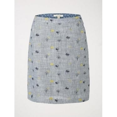Womens Ink And Pen Embroidered Skirt in Blueberry