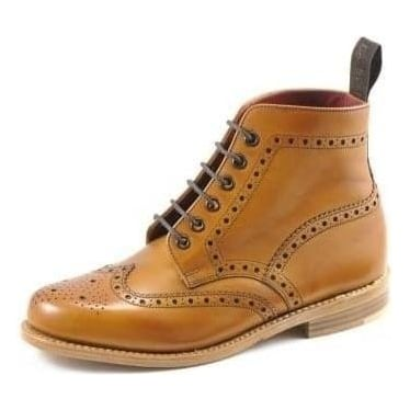 Womens Anne Brogue Boot in Tan Leather