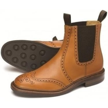 Mens Thirsk Brogue Chelsea Boot in Tan