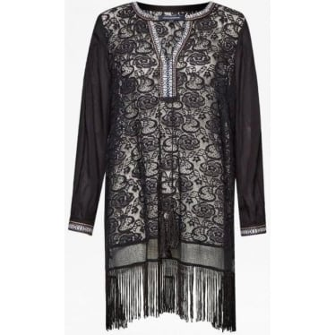 Womens Dumas Lace Fringe Tunic in Black