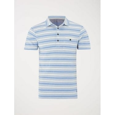 Mens Daul Pique Stripe Polo in Blue