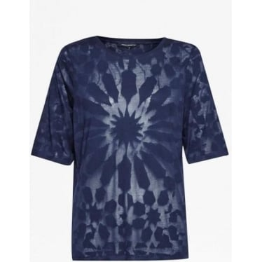 Womens Medina Burnout Loose T-Shirt in Indigo